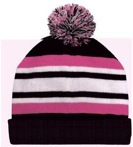 Black Pink White Pom Beanie Knit Cap Skully Winter Hat