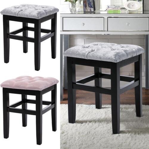 Velvet Upholstered Dining Chair Button Pouffe Bedroom Chair Dressing Table Stool Grey - Crushed Velvet,Pink - Velvet