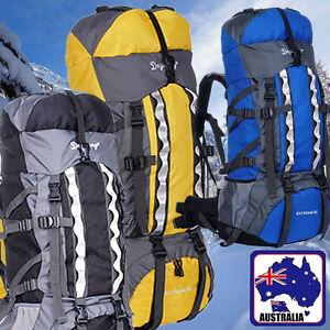 13e4208c0a Image is loading 80L-Backpack-RUCKSACK-Adjustable-Hiking-Bag-Sport-Yellow-