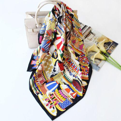 100/% Silk Scarf Fashion Luxury French Dessert Print Shawl Stole Foulard 90x90cm