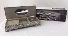 Godinger Silver Plated Jewelry Box Ornate W/ Mirror Footed & Original Box
