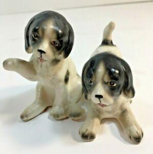 VINTAGE-PUPPY-DOG-SALT-amp-PEPPER-SHAKERS-Black-White-Enesco-Japan-Kitchen-Set