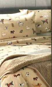 Cuddl Duds Twin 100 Brushed Cotton Flannel Sheet Set Playful Pups Dogs Ebay
