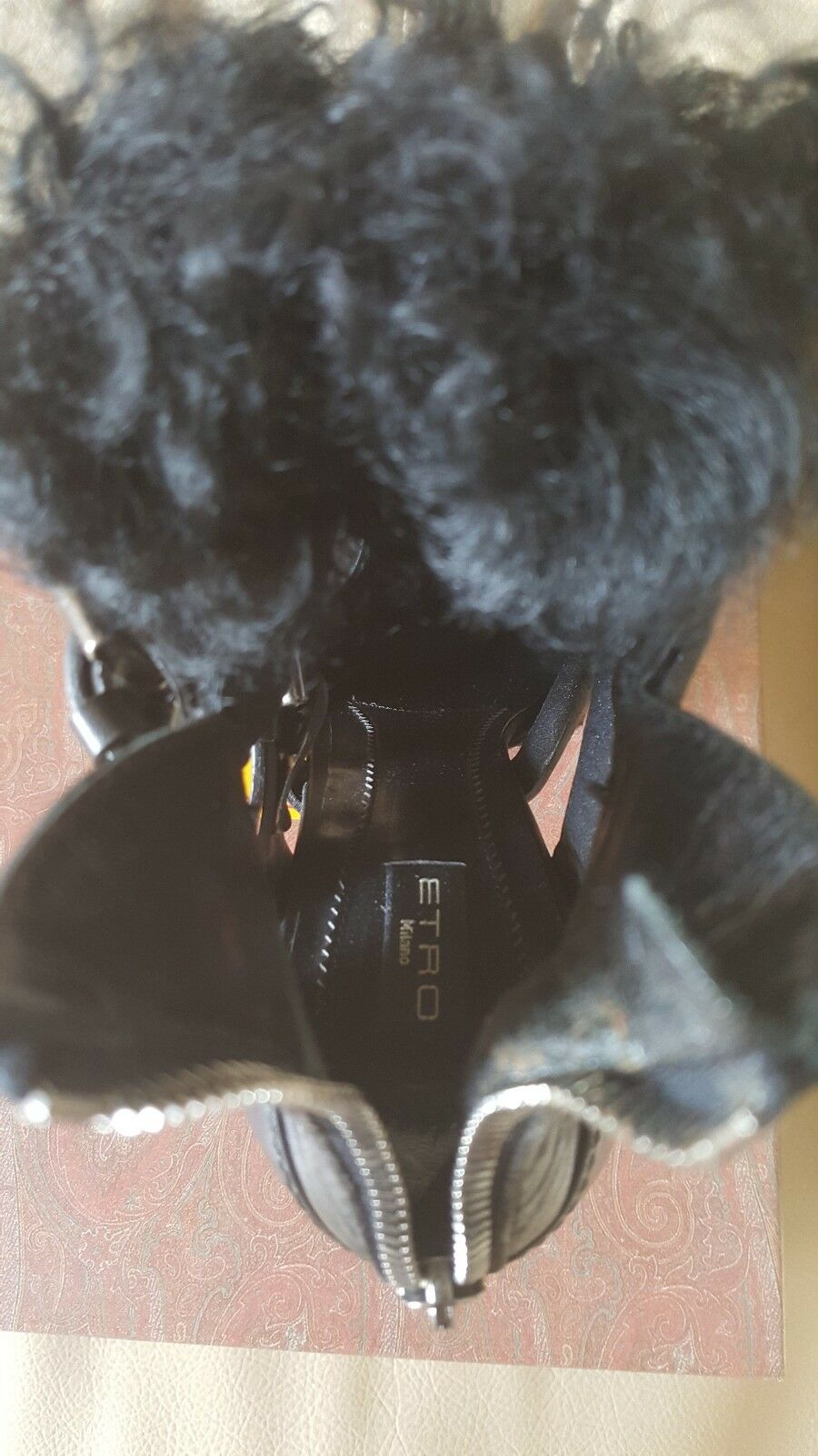 ETRO New AUTHENTIC Made ITALY Black Black Black Leather w Fur+Zipper Heels Sz.38 NWT   1,495 4a50d2