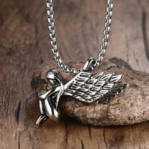 Fashion Titanium Stainless Steel Girl Angel Wings Retro Necklace Pendant B