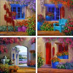 Accent-amp-Decor-Tile-Set-Ceramic-Senkarik-Courtyard-Floral-Art-MSA-ATSet7