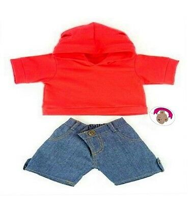 Teddy Bear Clothes fits Build a Bear Teddies Red Hoodie & Jeans Outfit Clothing