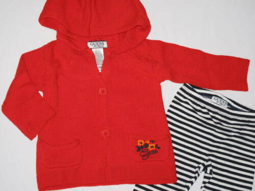 NWT GUESS 2pc set long sleeve hoodie sweater GIRL size 24M red