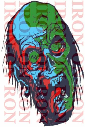 COOL POSTERISED ZOMBIE FACE A4 IRON ON T SHIRT TRANSFER ZOMBIE FACE A4 TRANSFER