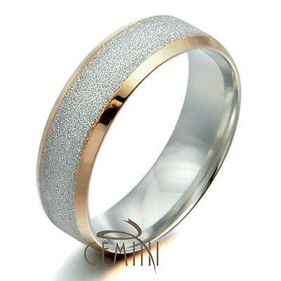 US 8mm 5mm Men Women 18K Gold F Wedding Titanium rings Sz4-15.5 GM008