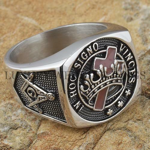 Knights Templar Masonic Ring Cross & Crown Master Freemason Square G Size 9-13
