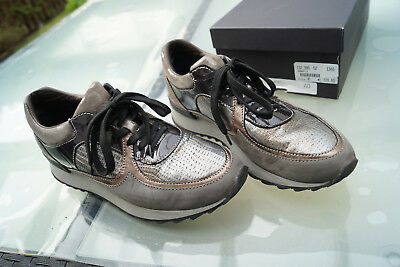 ANDREA MANUELI Damen Schuhe Sneaker Laufschuhe Gr.40 glanz silber grau Leder TOP   eBay