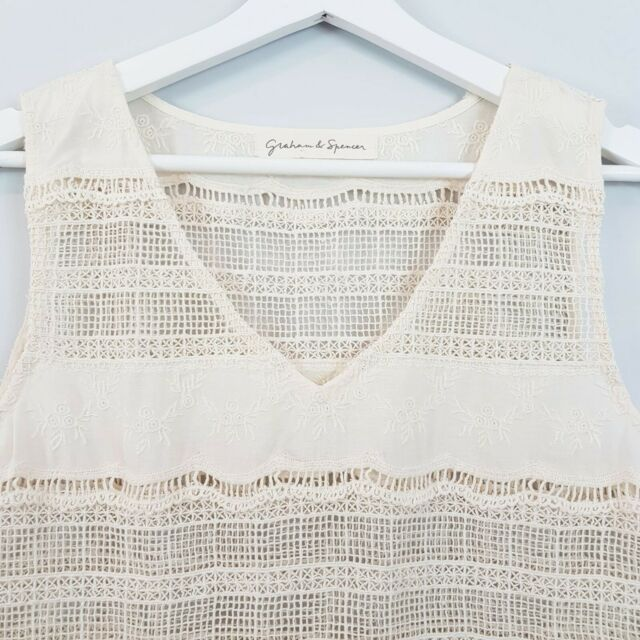 [ ANTHROPOLOGIE ] Womens Boho Crochet Blouse Top NEW | Size M or AU 12 / US 8