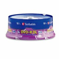 Verbatim Dvd+r Dl Azo 8.5 Gb 8x-10x Branded Double Layer Recordable Disc, 15-dis on sale