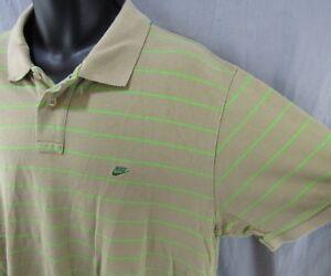 f3e3a242ffd2d Vintage Nike Polo Golf Shirt XXL Gray Green Striped 2XL Silver Label ...