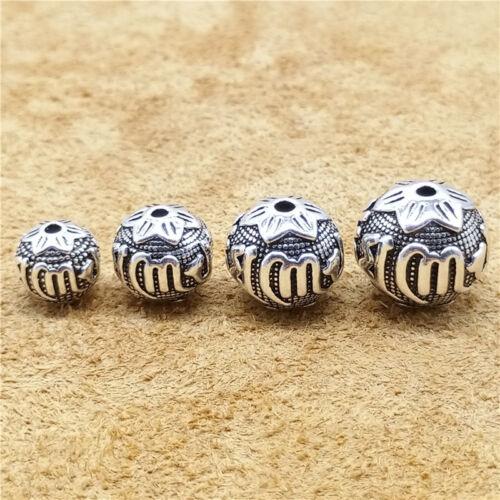 Sterling Silver OM MANI PADME HUM Ballon Rond Perles Argent 925 pour Yoga Méditation