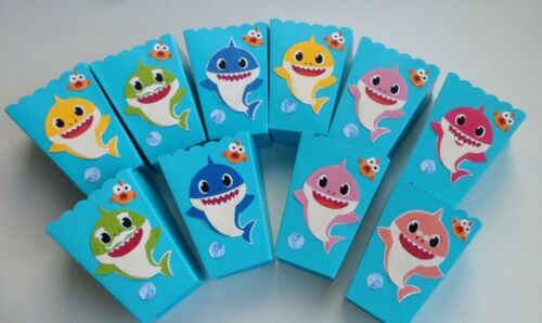 Baby Shark Party Favors baby shower SET OF 10 popcorn-candy boxes birthday