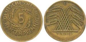 5 Pfennig 1924 e Fehlprägung 15-20% dezentriert ohne Riffelrand ss-vz 63765