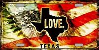 Texas Love Novelty Metal License Plate