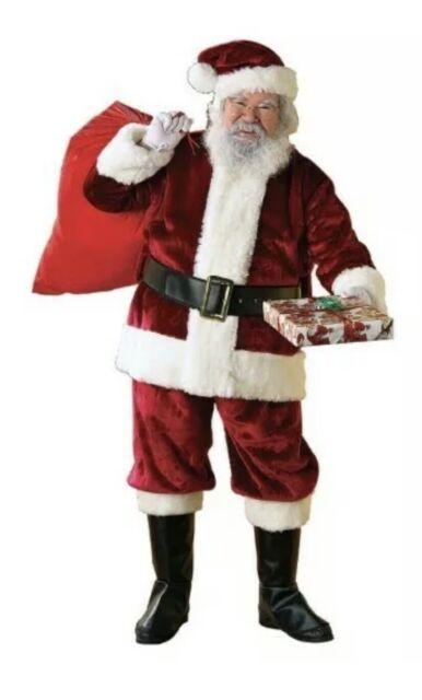 4 Sizes Deluxe Red Plush Adult Santa Claus Suit Costume