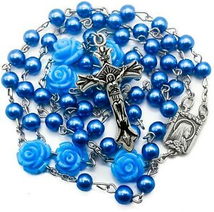 Catholic-Blue-Pearl-Beads-Rosary-Necklace-Our-Rose-Flowers-Lourdes-Medal-Cross