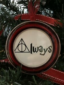 """Harry Potter 3/"""" Round Ornament Always Deathly Hallows symbol White"""