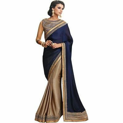 Saree Bollywood Indian Ethnic Chinnon silk Embroidery Work Designer Saree Sari