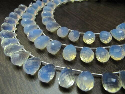 White Opal 10x14mm Tear Drop Hydro Quartz 8 Inches Briolette Faceted  Beads.