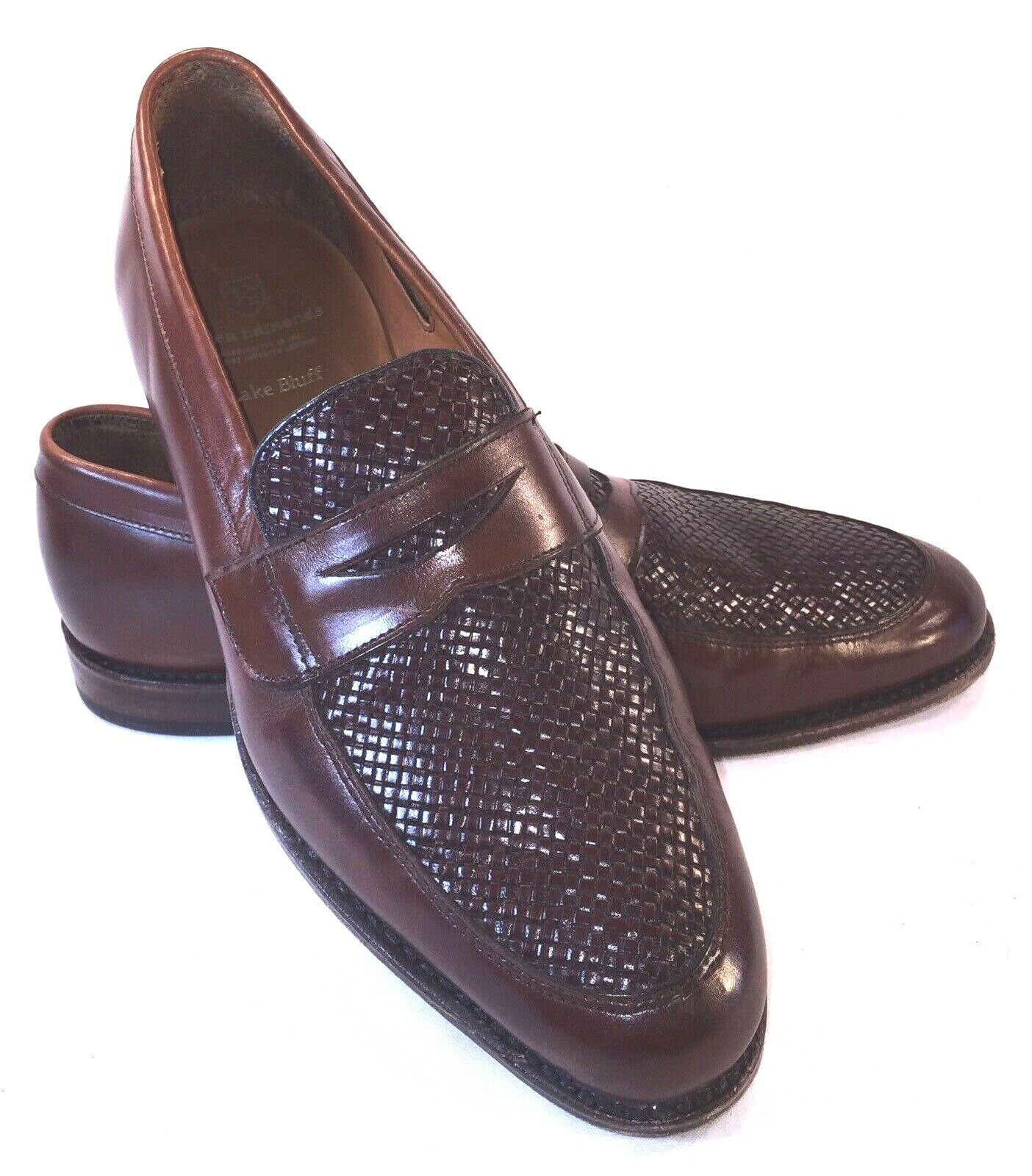 Allen Edmonds Brown Lake blueff Penny Loafers Woven Top Size 9 1 2 D Two-Tone