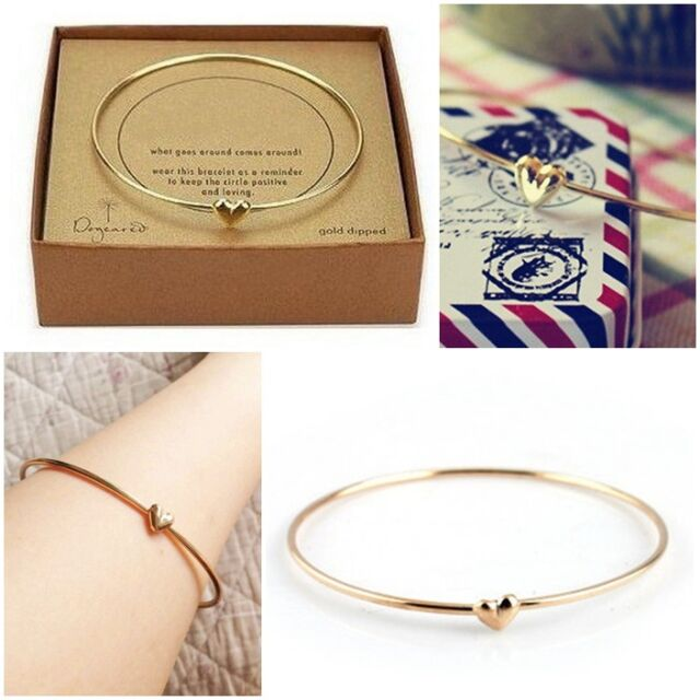 Fashion Women's Gold Heart Charm Chain Bangle Bracelet Cuff Elegant Jewelry Gift