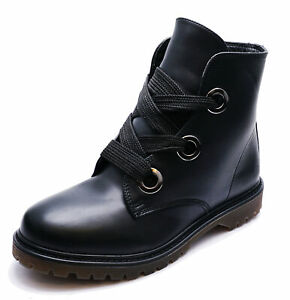 LADIES-BLACK-ANKLE-CASUAL-FLAT-LACE-UP-DM-MILITARY-ARMY-DOC-BOOTS-SHOE-SIZES-3-8