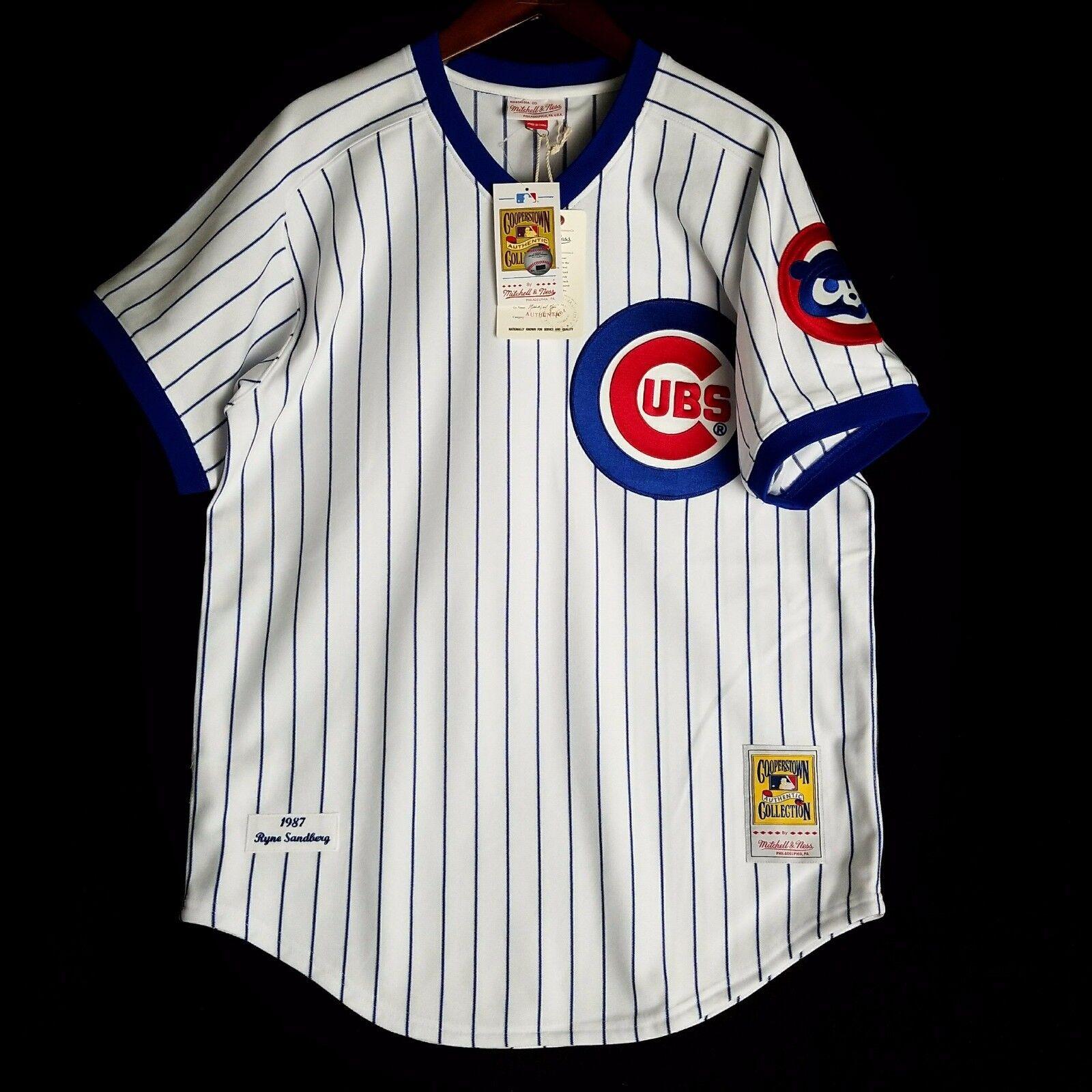 100% Authentisch Minifigur Ryne Sandberg Mitchell Ness 87 Cubs MLB Trikot Größe