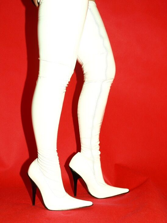 WEISS PATENT LEATHER STRETCH HEEL-5,5' HIGH Stiefel SIZE 5-16 HEEL-5,5' STRETCH -- POLAND 2ff7d0