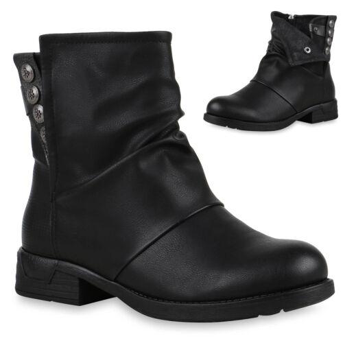 894428 Schuhe Damen Biker Boots Metallic Prints Stiefeletten Mode