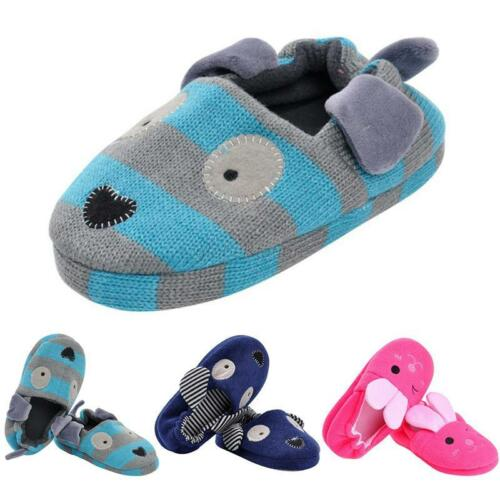 Cute Kids Baby Girls Boys Cotton Slippers Cartoon Soft Sole Crib Shoes 1-8T