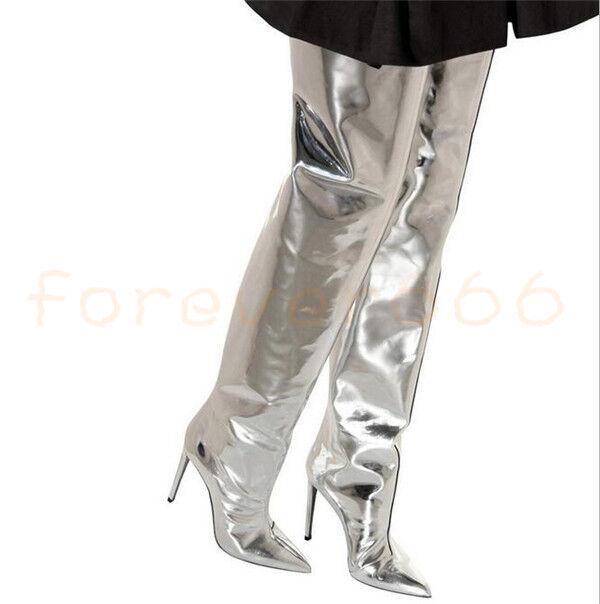 Large Größe gr.45 46 Sexy Damen Clubwear PU Lackleder Overkneestiefel Trend