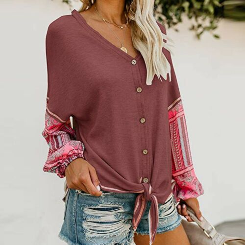 Womens V Neck Tie Knot Print Hand Shirt Button up Patchwork Cardigan Top Blouse