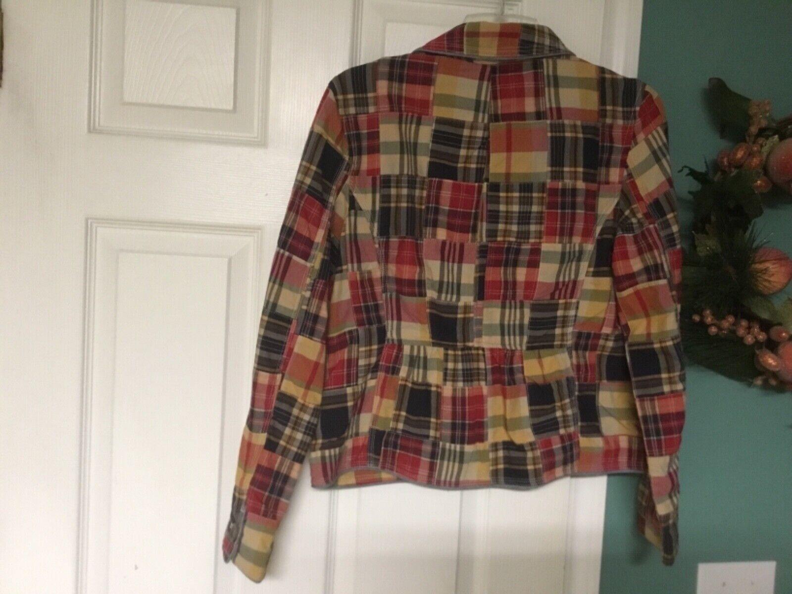LL Bean Women's Blazer Patchwork Cotton Jacket Mu… - image 3