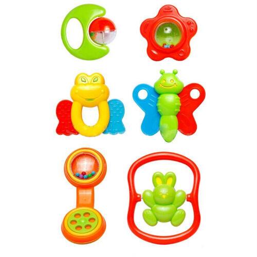 6Pcs Plastic Baby Hand Shake Bell Ring Rattles toys Baby Educational Toys IBU