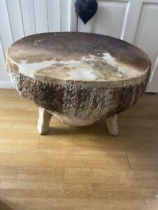 Vintage Cowhide coffee table, African drum, animal skin tribal instrument