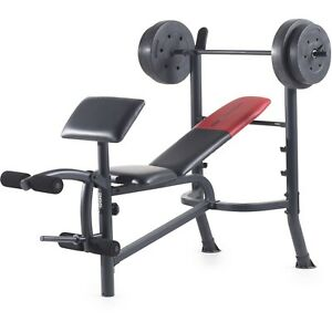 Exercise Bench Press With Barbell Weight Set Total Body Strength Training Ebay