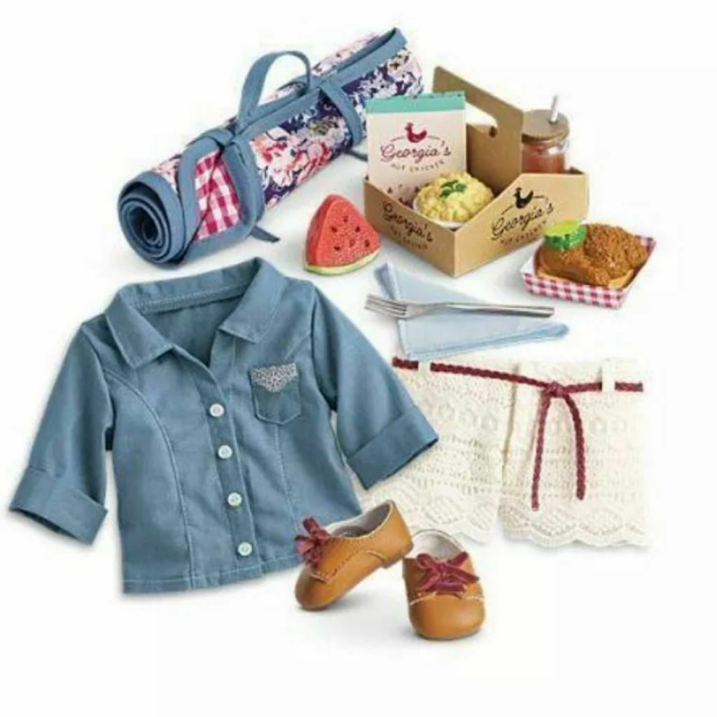 American Girl Tenney's Picnic Outfit and Picnic Set Great for Blaire