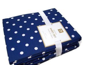 Pottery-Barn-Teen-Multi-Colors-Dark-Blue-Dottie-Dot-Cotton-Queen-Sheet-Set-New