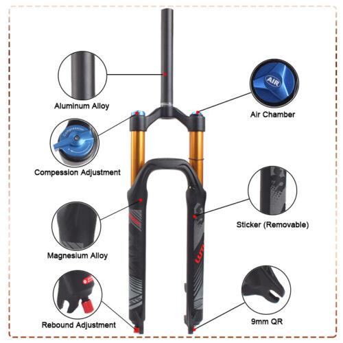 "26//27.5//29/"" 120mm Travel Rebound Adjust MTB Bike Air Shock Suspension Fork 1-1//8"