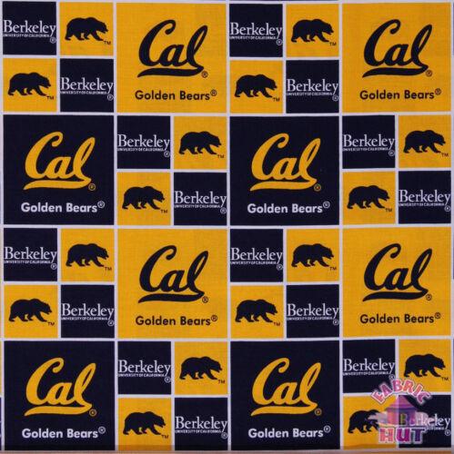 NCAA Cal Berkeley Golden Bears Block Cotton Fabric By the Yard