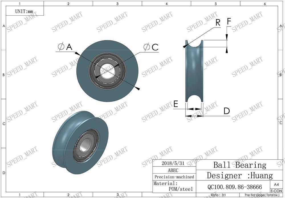 U Nylon plastic Embedded 696 Groove Ball Bearings 6*23*12mm Guide Pulley