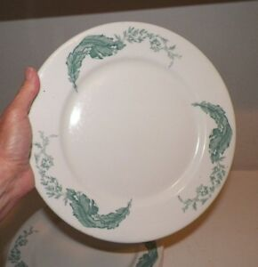 Image is loading VINTAGE-IROQUOIS-CHINA-RESTAURANT-WARE-DINNER-PLATE-TEAL- & VINTAGE IROQUOIS CHINA RESTAURANT WARE DINNER PLATE TEAL BANANA LEAF ...