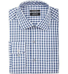 $95 Alfani Men/'S Regular-Fit Blue White Check Button Dress Shirt 15-15.5 32//33 M