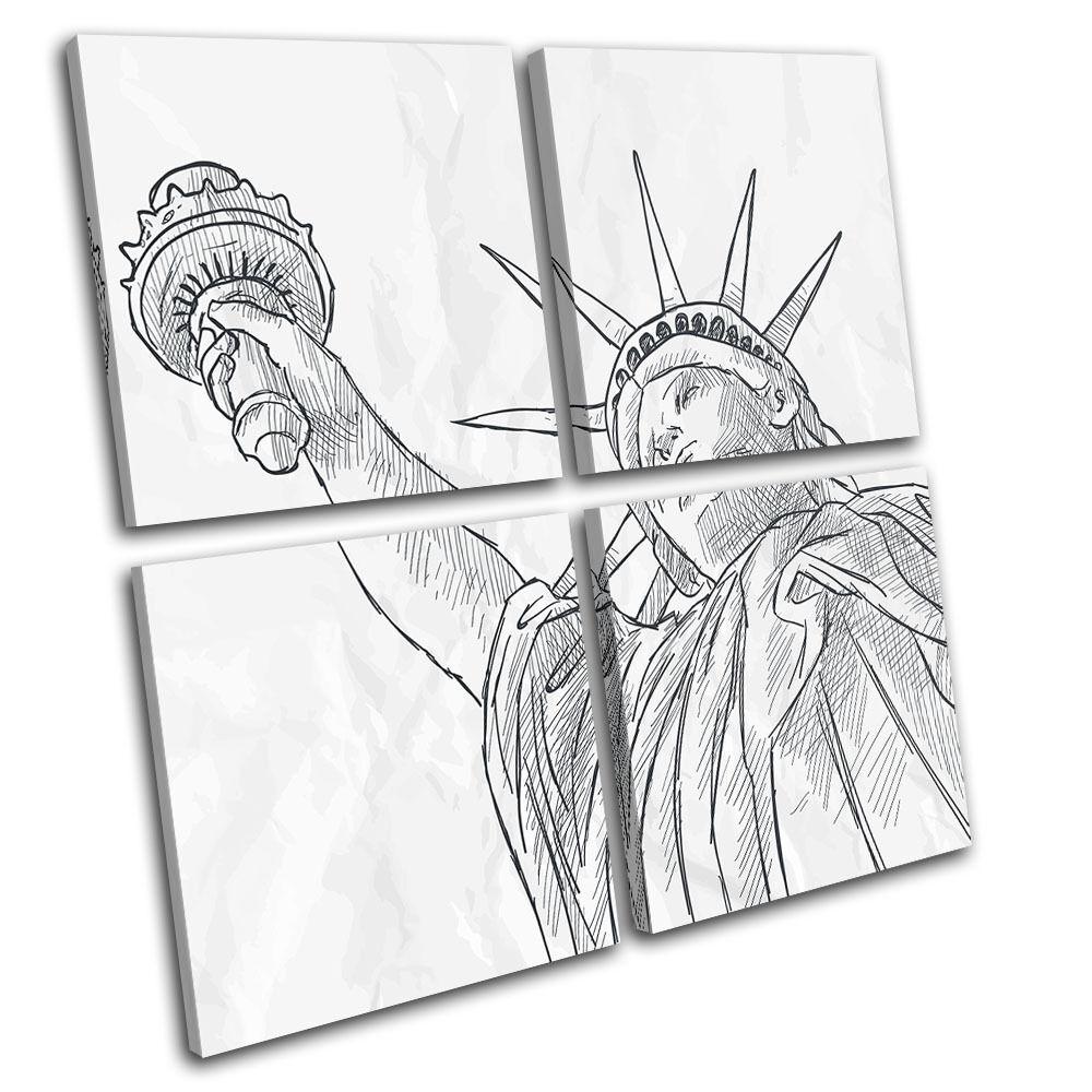 New York NYC NYC NYC Liberty Sketch Illustration MULTI TELA parete arte foto stampa f56339
