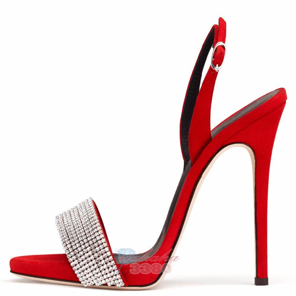 femmes Open Toe High Heels Stiletto Sandals Rhinestone Ankle Strap chaussures Big Taille